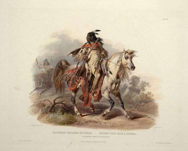 Blackfoot Indian on horseback (Public Domain)