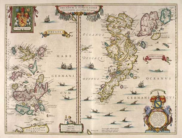 Blaeu's 1654 map of Orkney and Shetland. (Public Domain)