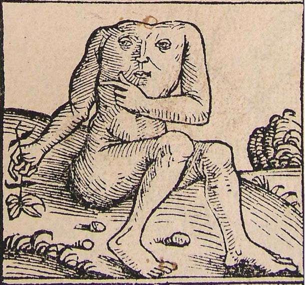 A Blemmyae from the Nuremberg Chronicle, 1493.