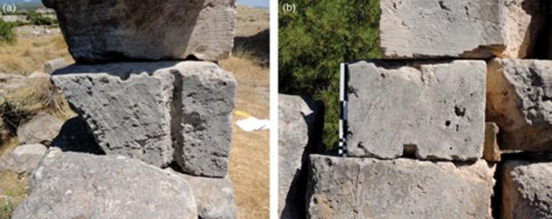 Block Ar 39 from Isthmia, side (a) and front (b) views. (Alessandro Pierattini / University of Notre Dame)