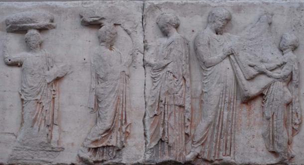 Block V of the eastern Parthenon Frieze, perhaps depicting the arrhephoroi, part of the liturgical calendar