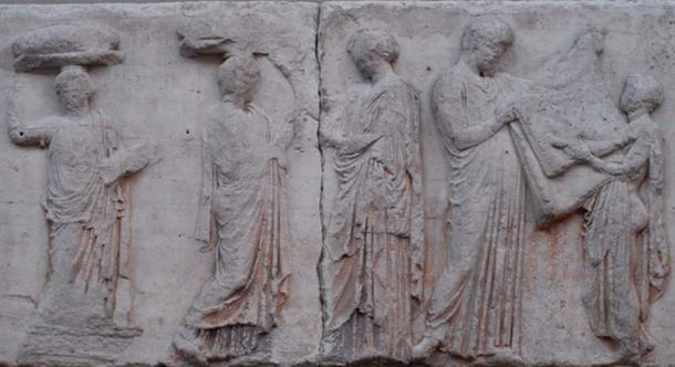 Block V of the eastern Parthenon Frieze, perhaps depicting the arrhephoroi, part of the liturgical calendar