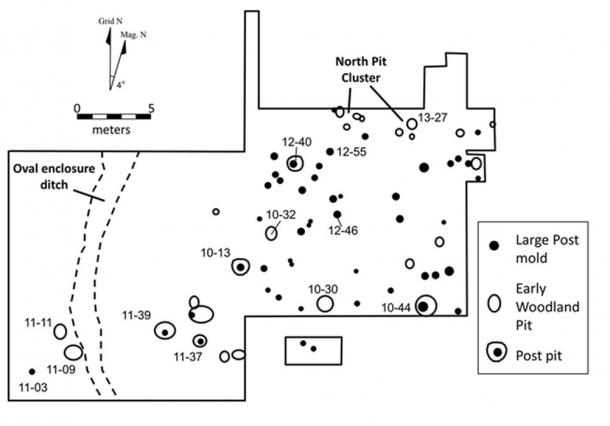 Block excavation area of an unusual oval enclosure showing Early Woodland pits, post pits and large post molds, offering the earliest evidence of nonmortuary ceremonialism in Ohio.