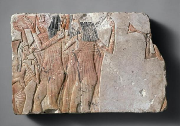 Block from Amarna showing trumpeters, from the MET Museum, # 1985.328.11. (Public Domain)