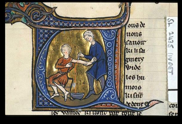Blood-letting in Aldobrandino of Siena's 'Régime du Corps'. British Library, MS Sloane 2435, f.11v. France, late 13thC.