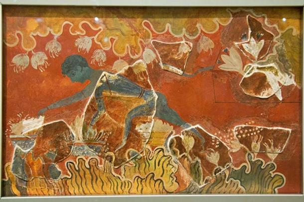 "The ""Blue Boy"" or the ""Saffron-Gatherer"". Minoan fresco from Knossos (Evans reconstruction)"