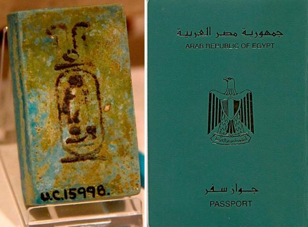Left: Blue faience piece showing the cartouche of pharaoh Ramesses II. Inscribed in ink. 19th Dynasty. From Kurna (Qurna, Qurnah), Egypt. The Petrie Museum of Egyptian Archaeology, London. (Osama Shukir Muhammed Amin
