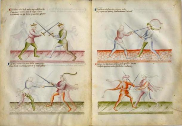 BnF MS Latin 11269 is the only manuscript of the Flower of Battle that is in full color. (Michael Chidester / Public Domain)