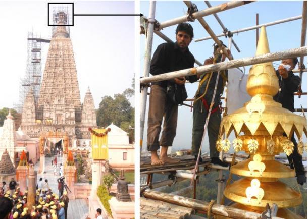 Vista general del templo de Bodhgaya y el trabajo en curso para el chapado en oro sobre el pináculo del templo, Gaya, Bihar