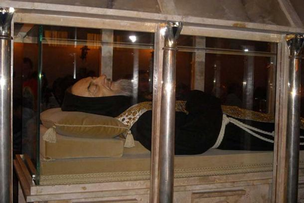 Body of Saint Pio da Pietrelcina, who is said to be an example of incorruptibility