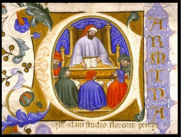 Boethius teaching his students from folio 4r of a manuscript of the Consolation of Philosophy (Italy?, 1385)