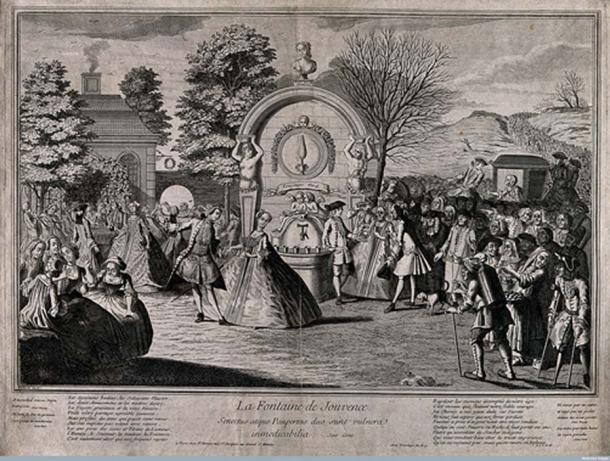 Boilard Engraving - Crowds of old and infirm people arrive at the fountain of youth to pay an aristocrat for the privilege to drink from the rejuvenating waters; to the left are a group of youthful people dancing and singing, rejuvenated by the healing water.