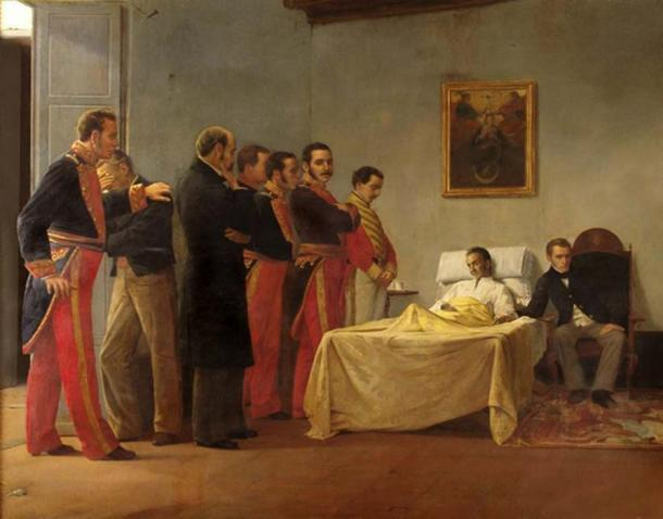 Bolívar's death, by Venezuelan painter Antonio Herrera Toro. (Gussgav / Public Domain)