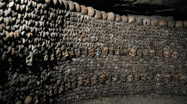 Bone wall in the Catacombs of Paris