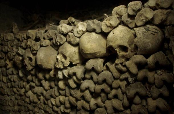 Bones in the Paris catacombs