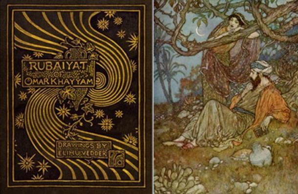 Book cover and illustration from The Rubaiyat of Omar Khayyam.