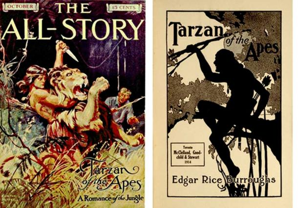 Book covers for Tarzan novels, 1912 and 1914