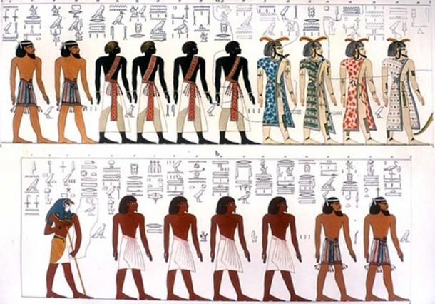 Egyptian race portrayed in the Book of Gates, depicting Berber, Nubian, Asiatic, and Egyptian. An artistic rendering, based on a mural from the tomb of Seti I.