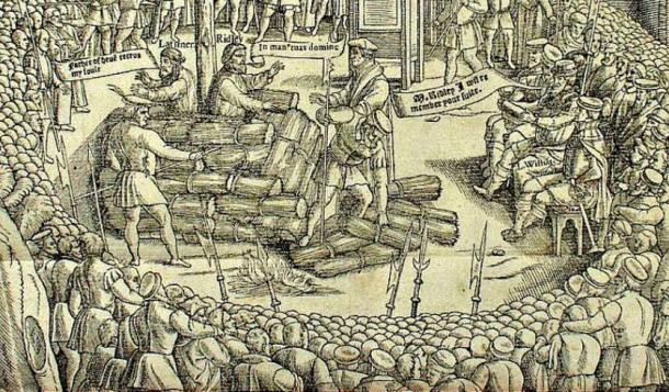 "Detail of an illustration from the ""Book of Martyrs"" by John Fox, depicting the preparations prior to the burning at the stake of Hugh Latimer and Nicholas Ridley."