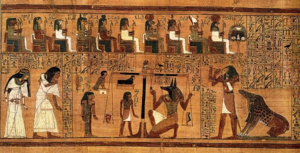 "Excerpt from the 'Book of the Dead', written on papyrus and showing the ""Weighing of the Heart"" using the feather of Maat as the measure for the counter-balance."