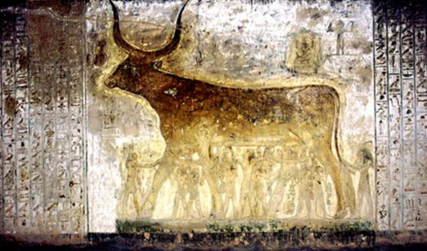A scene from the Book of the Heavenly Cow as depicted in the tomb of Seti I.