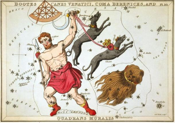 Bootes as depicted in Urania's Mirror, a set of constellation cards published in London c.1825.
