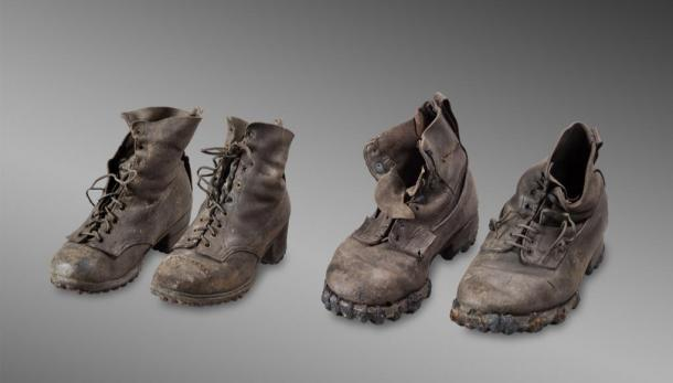 Boots that belonged to Marcelin and Francine Dumoulin, who disappeared on August 15, 1942 in bad weather on the Tsanfleuron Glacier, near Les Diablerets. (Musée d'histoire du Valais/Michel Martinez)