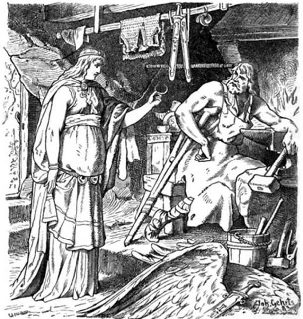 Böðvildr in Weyland's Smithy, John Gehring (1883)