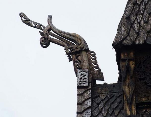 Borgund Stave Church with wooden serpent architecture