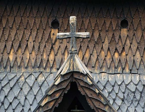 Borgund Stave Church clad with what looks like scales