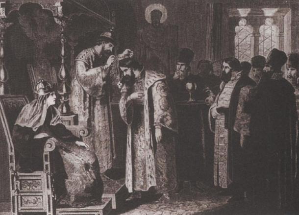 odor puts a golden chain on Boris Godunov. By Aleksey Danilovich Kivshenko.
