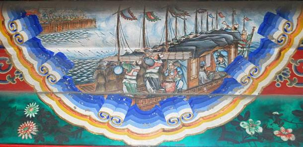 'Borrowing arrows with straw boats' (草船借箭), portrait at the Long Corridor of the Summer Palace, Beijing. (Shizhao/CC BY SA 3.0)
