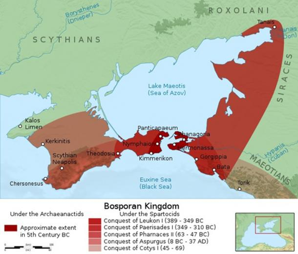 Bosporan Kingdom - Panticapaeon and other ancient Greek colonies along the north coast of the Black Sea. (CC BY-SA 4.0)
