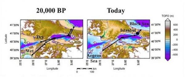 The sea level in the Bosporus and Dardanelles at the Last Glacial Maximum (20,000 years ago) versus today. Note that 20,000 years ago one-third of the route from the Black Sea to the Aegean Sea was occupied by a deep lake, which would have interrupted the portage and might have encouraged human settlement at each of its ends (Image: Jerry Dobson/ Geographical Review)