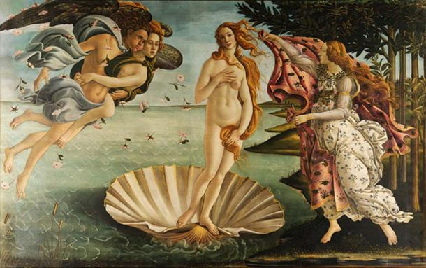 Botticelli's Birth of Venus, depicting the Roman goddess of love.