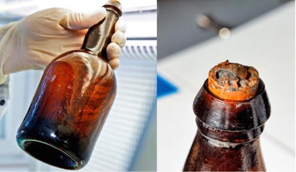 Bottles of beer retrieved from the Baltic shipwreck.