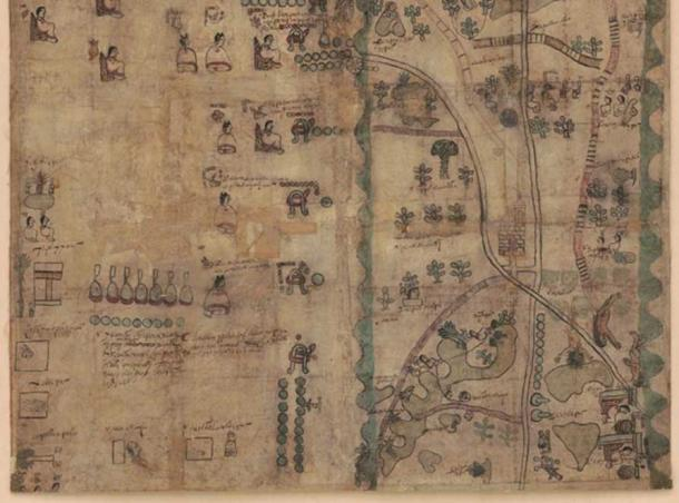 Bottom half of the Codex Quetzalecatzin Map. Retrieved from the Library of Congress.