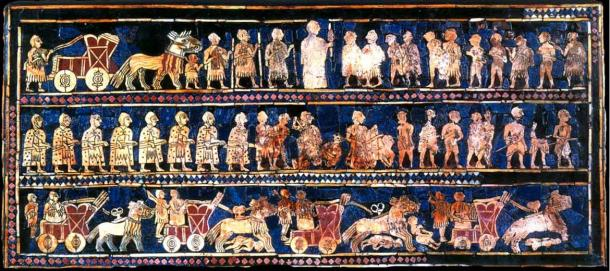 Standard of Ur, 26th century BC. Bottom panel depicts chariots in action.