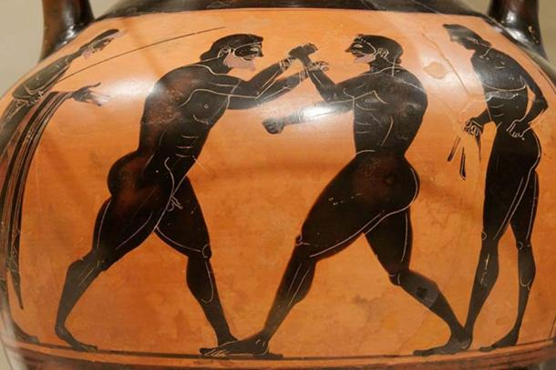 Boxers represented on a Panathenaic amphora. Metropolitan Museum of Art. (CC BY 2.5)