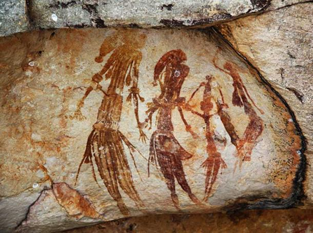 Bradshaw rock paintings in the Kimberley region of Western Australia, taken at a site off Kalumburu Road near the King Edward River. These paintings are estimated to be between 26,500 and 20,000 years old.