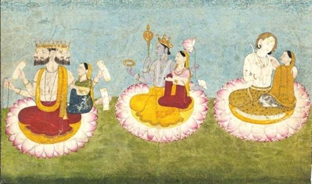 Brahma, Vishnu and Shiva seated on lotuses with their consorts, Saraswati, Lakshmi and Paravati respectively. ca 1770. Guler, India. (Public Domain)