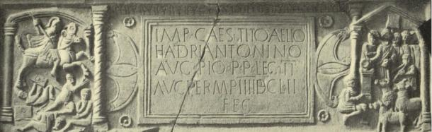 """The Bridgeness Stone, a Roman distance Stone from the Antonine wall. (Public Domain) Note the decapitated man at the bottom of the left scene – his neck was once """"dripping"""" with blood red paint."""