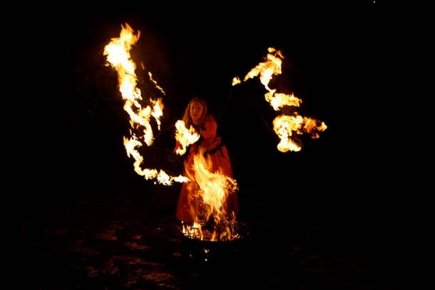 Brighid is celebrated with fire at a festival. (Mike Wright/CC BY-ND-2.0)