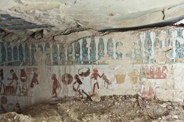 Brightly painted scenes cover the tomb walls.