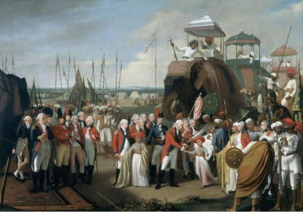 British General Lord Cornwallis, receives two of Tipu Sultan's sons as hostages in the year 1793 in India