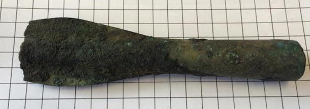 Broken artifact found in what used to be an ancient freshwater lake.
