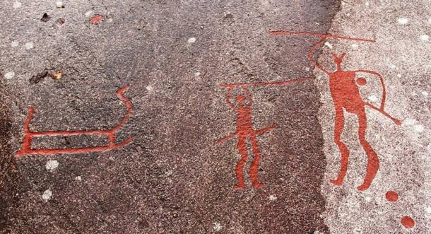 Bronze Age War: Image from Vitlycke, a bronze-age UNESCO world heritage site in Tanumshede, western Sweden, depicts fighting with weapons. War became much more common later in prehistory, including the late Neolithic and Bronze Age.