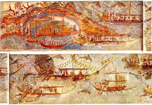 These Bronze Age frescoes from the island of Santorini in Greece show a ship procession in the Mediterranean Sea.