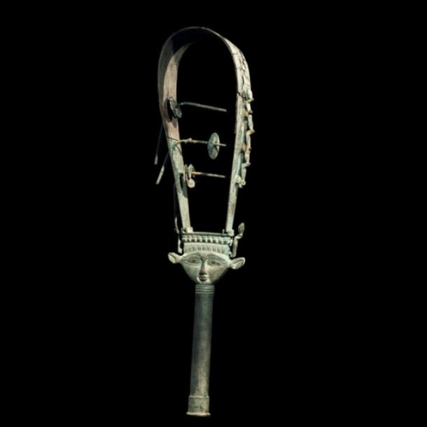 Music for the Gods: Bronze arched sistrum with Hathor head decoration, representational image only.