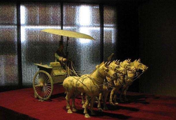 Bronze driver, horses, and chariot found at the necropolis complex of Emperor Qin Shi Huang.
